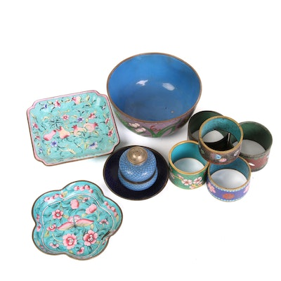 Chinese Cloisonné Napkin Rings, Bowl and Other Table Top Accessories