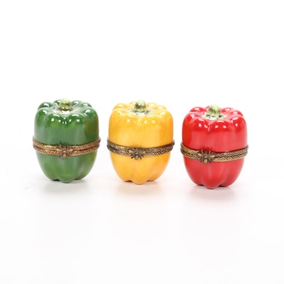 Hand-Painted French Porcelain Bell Pepper Limoges Boxes