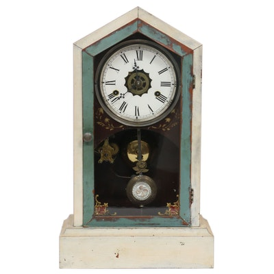 Victorian Painted Wood Kitchen Clock, Mid to Late 19th Century