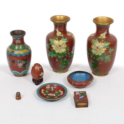 Chinese Cloisonné Vases and Table Accessories