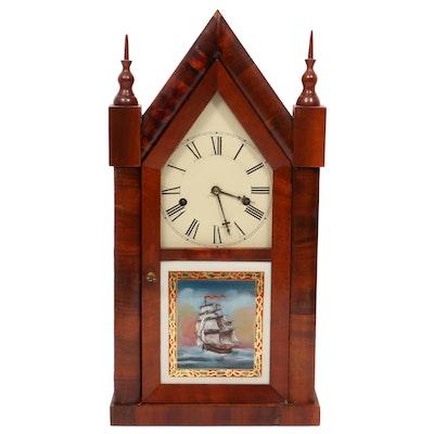 Daniel Pratt & Sons Mahogany Cathedral Clock, Late 19th Century