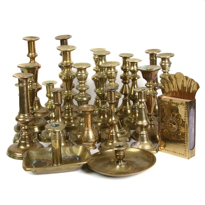 Brass Candlesticks and Match Holder, Mid to Late 20th Century