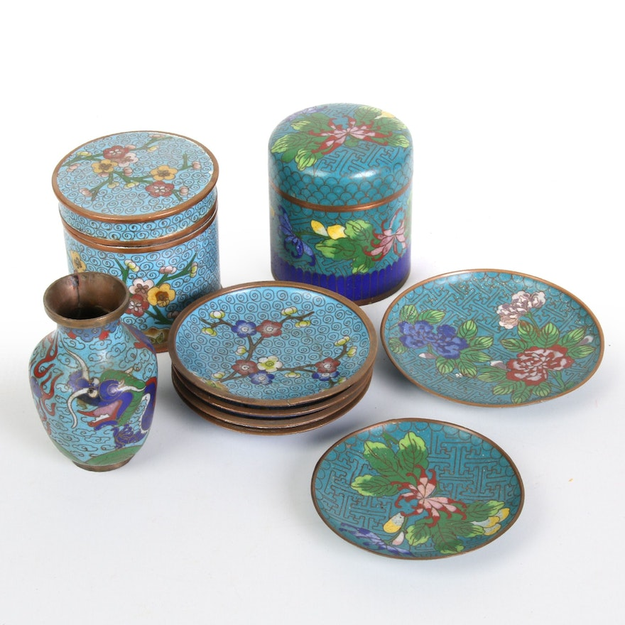 Chinese Cloisonné Vase, Plates and Lidded Tea Caddies