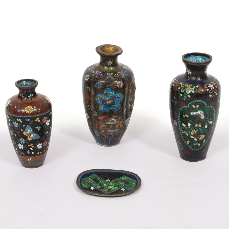 Chinese Cloisonné Vases and Plate, Early to Mid 20th Century