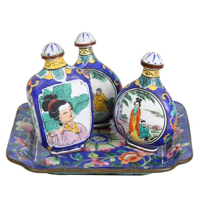 Chinese Enameled Snuff Bottles and Dish, Early 20th Century