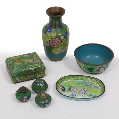 Chinese Cloisonné Vase, Shakers, Bowl, Tray and Boxes