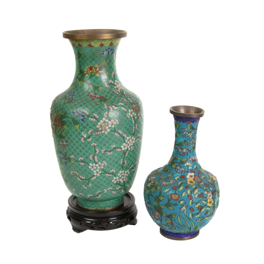 Chinese Cloisonné Vases with Floral Motif, Mid to Late 20th Century