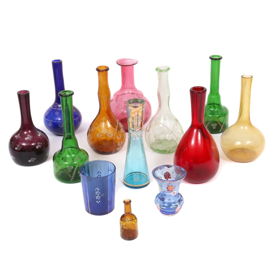 Royo Enameled Vase and Other Colored and Enameled Decorated Tableware
