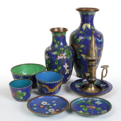 Chinese Cloisonné  Cobalt Blue Table Accessories and Brass Chamberstick, 20th C