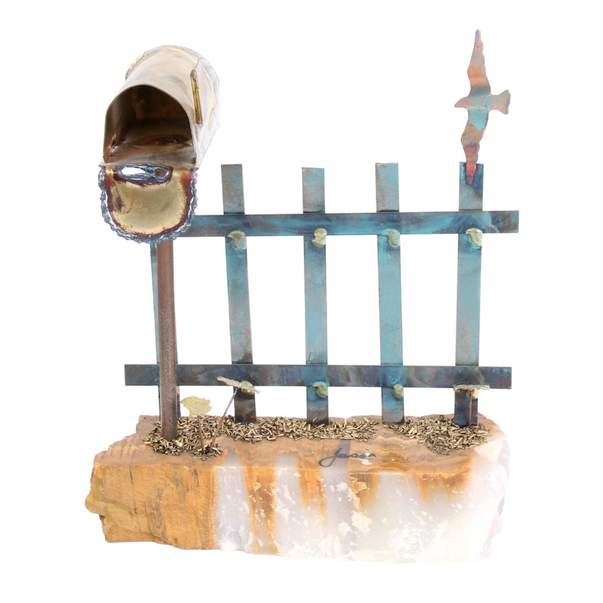 Metal Fence with Mailbox on Quartzite Base Figurine, Mid-20th Century