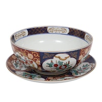 "Otagiri Mercantile Company ""Gold Imari"" Porcelain Bowl and Underplate"