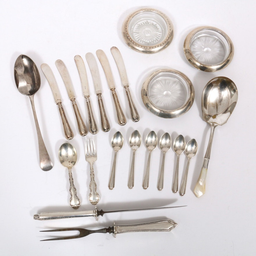 Gorham and Other Sterling Silver and Silver Plate Flatware and Coasters
