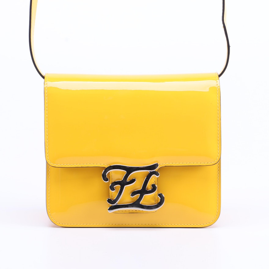 Fendi Karligraphy Crossbody Bag in Yellow Patent Leather