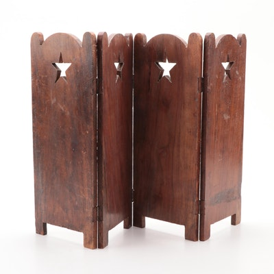 Wood Folding Tabletop Screen with Star Cutouts