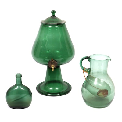 Green Glass Apothecary Dispenser With Brass Spigot, Pitcher, and Bottle