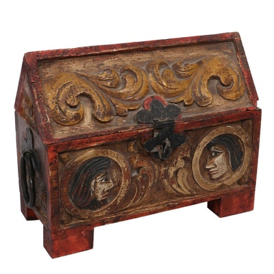 Carved Polychrome Wooden Chasse Chest