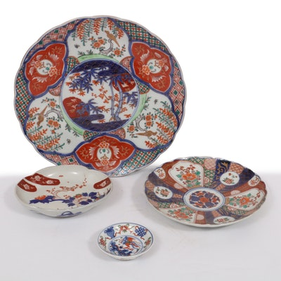 Japanese Imari Porcelain Charger and Plates, 20th Century