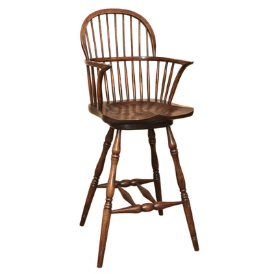 Case Windsor Style Swivel Seat Wooden Bar Stool