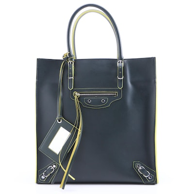 Balenciaga Papier A5 Zip Around Tote in Forest Green and Chartreuse Leather