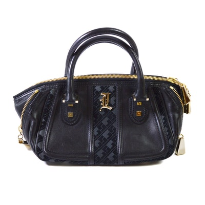 L.A.M.B. Black Leather and Suede Top Handle Bag