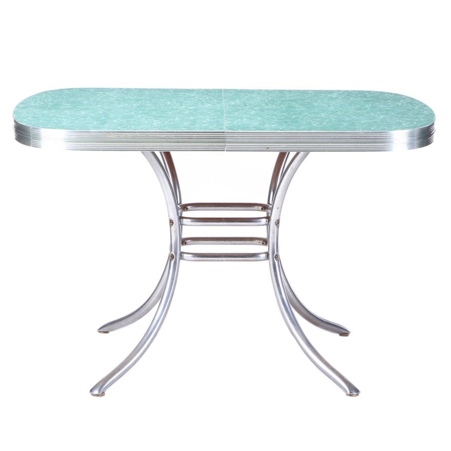 Chrome and Laminate Top Extending Dining Table, Mid-20th Century