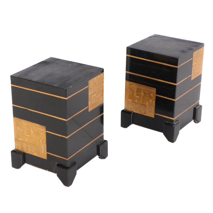 Pair of Art Deco Style Gilt and Black Lacquered Stands, Mid-20th Century