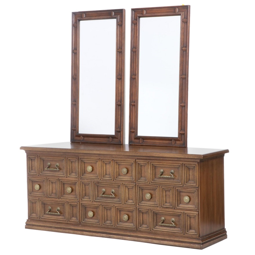 Henredon Nine-Drawer Low Chest Plus Two Wall Mirrors