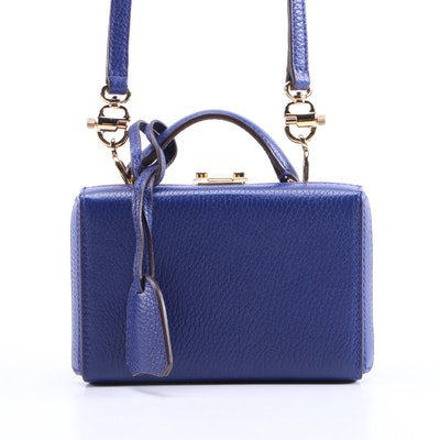 Mark Cross Mini Grace Two-Way Box Bag in Royal Blue Pebbled Leather