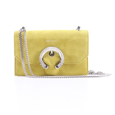 Jimmy Choo Crossbody Bag in Chartreuse Suede with Crystal Embellished Buckle