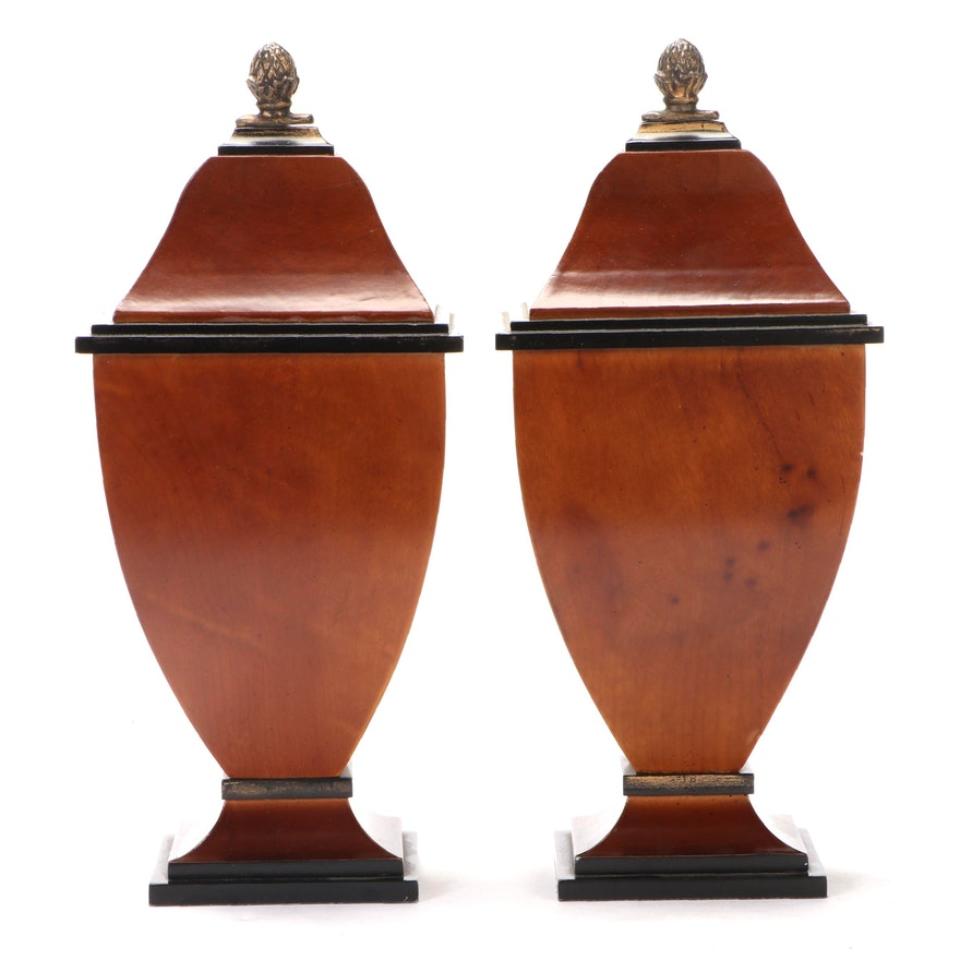 Pair of Veneered Decorative Shelf Boxes