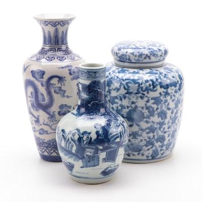 East Asian Blue and White Porcelain Ginger Jar and Vases