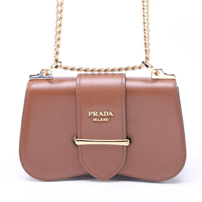 Prada Sidonie Crossbody Bag in Brown Calfskin Leather with Chain Strap