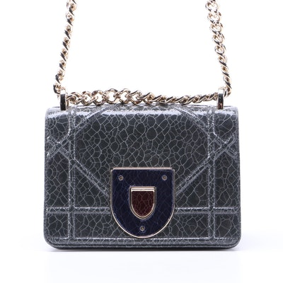 Christian Dior Diorama PM Flap Bag in Crackled Deerskin with Chain Strap
