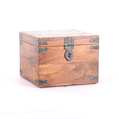Handmade Stained Pine Box with Metal Accents