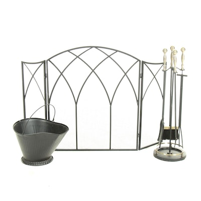 Black and Brushed Metal Finish Fireplace Screen, Coal Bucket, and Tool Set