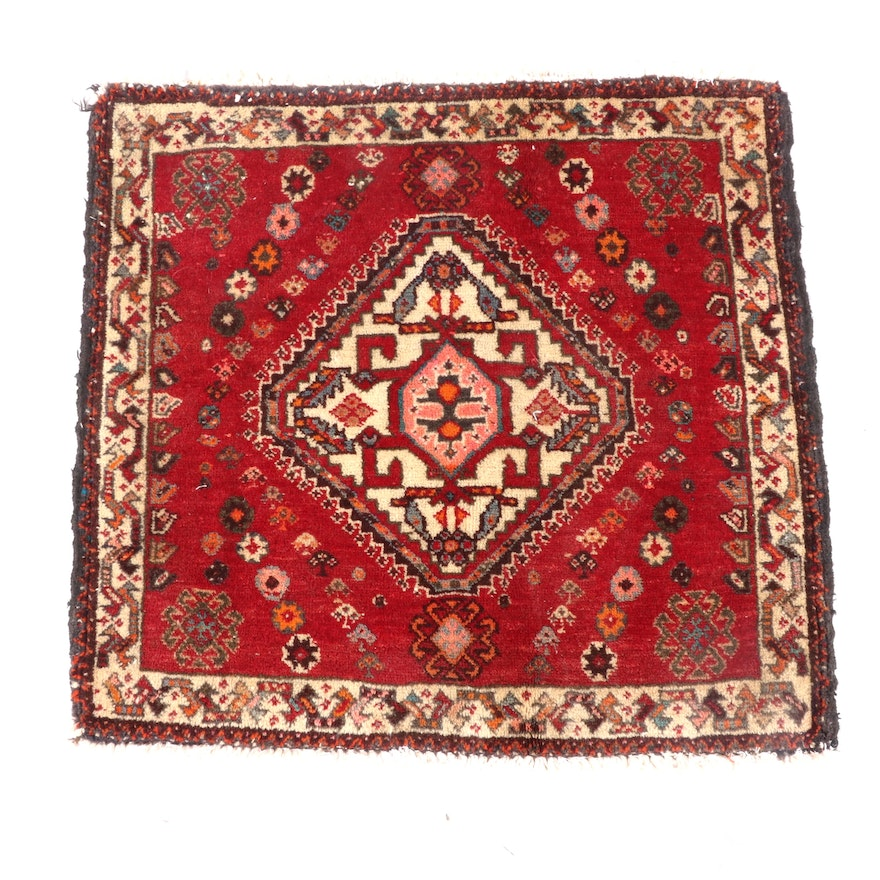 2'0 x 2'0 Hand-Knotted Persian Luri Wool Floor Mat