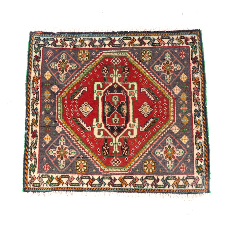 1'11 x 1'11 Hand-Knotted Persian Luri Wool Floor Rug