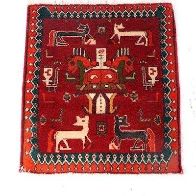 1'9 x 2'0 Hand-Knotted Persian Gabbeh Wool Floor Mat
