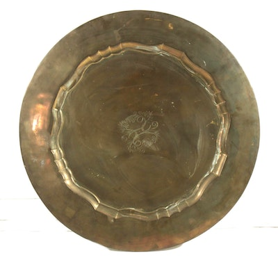 Ethan Allen Chased Brass Clad Metal Wall Hanging, Mid-20th Century