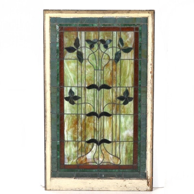 Art Nouveau Slag Glass Window Panel,  Late 19th-Early 20th Century