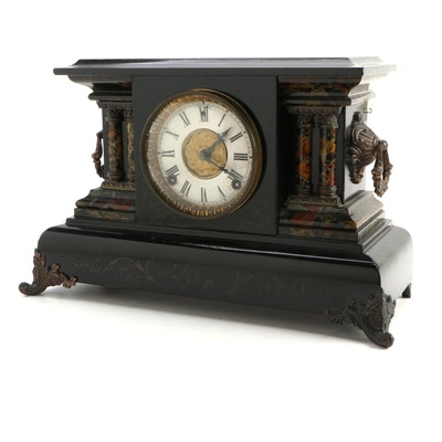 E. N. Welch Faux Stone Pilaster Mantel Clock, Late 19th to Early 20th Century