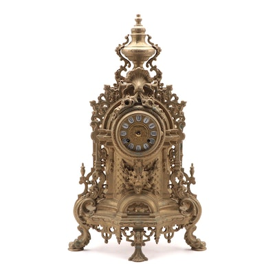 Franz Hermle Imperial Clock Co. Gilt Metal Mantle Clock, Mid-20th Century