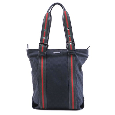 Gucci Black GG Canvas and Web Stripe Tote Bag with Leather Trim