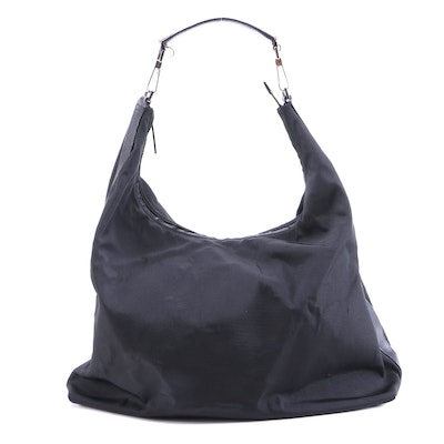 Gucci Black Nylon and Leather Hobo Bag