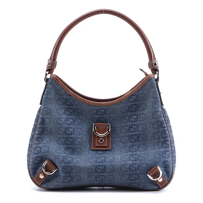 Gucci Abbey Denim and Leather Shoulder Bag