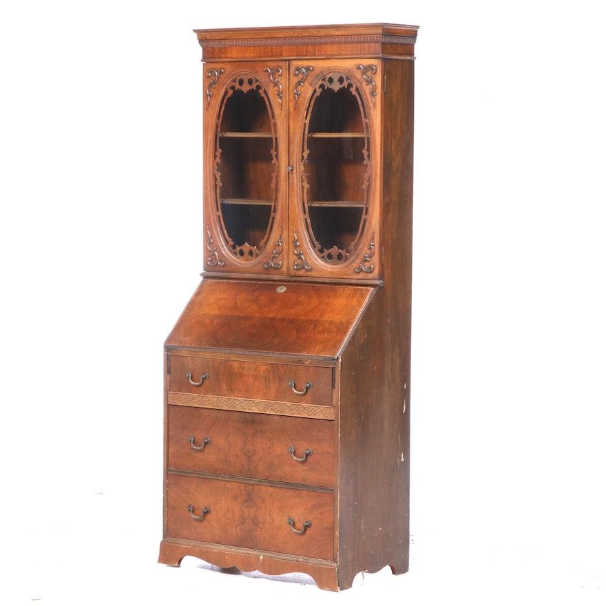 Federal Style Walnut Secretary Bookcase