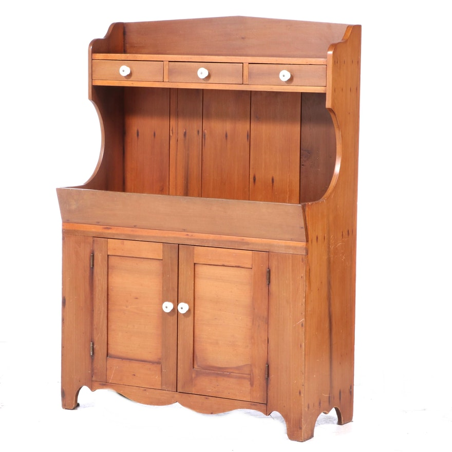American Colonial Style Pine Dry Sink Cupboard, 19th Century