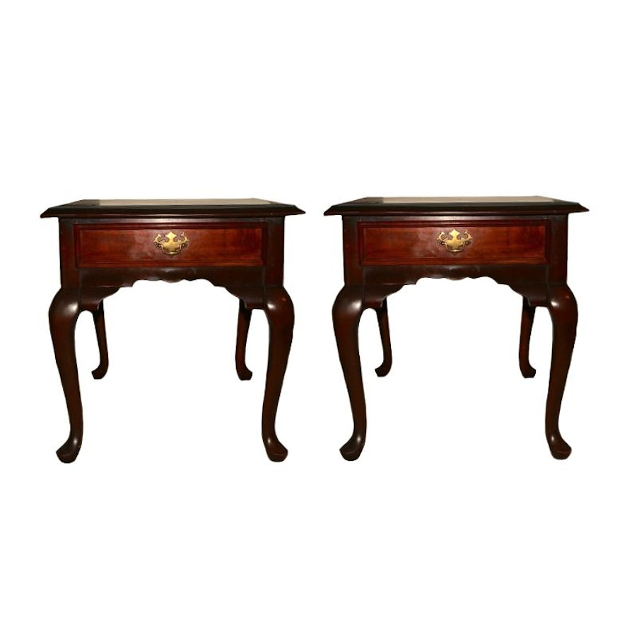 "Pair of Kincaid Furniture ""Cherry Mountain II"" Queen Anne Style Side Tables"
