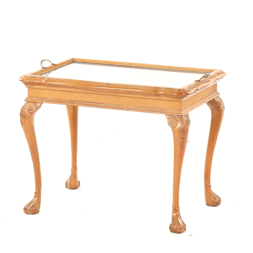 Louis XV Style Oak End Table with Burl Wood Veneer Top and Glass Tray