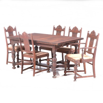 Jacobean Style Oak Dining Set, Early 20th Century